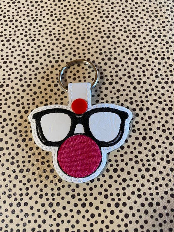 ITH DIgital Embroidery Pattern For Red Nose Day Snap Tab / Key Chain, 4X4 Hoop