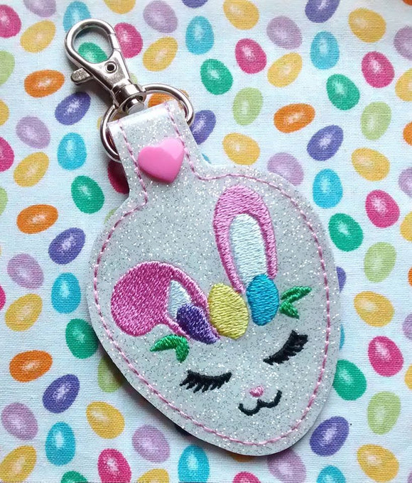 ITH Digital Embroidery Pattern for Bunny Face Snap Tab / Key Chain, 4X4 Hoop