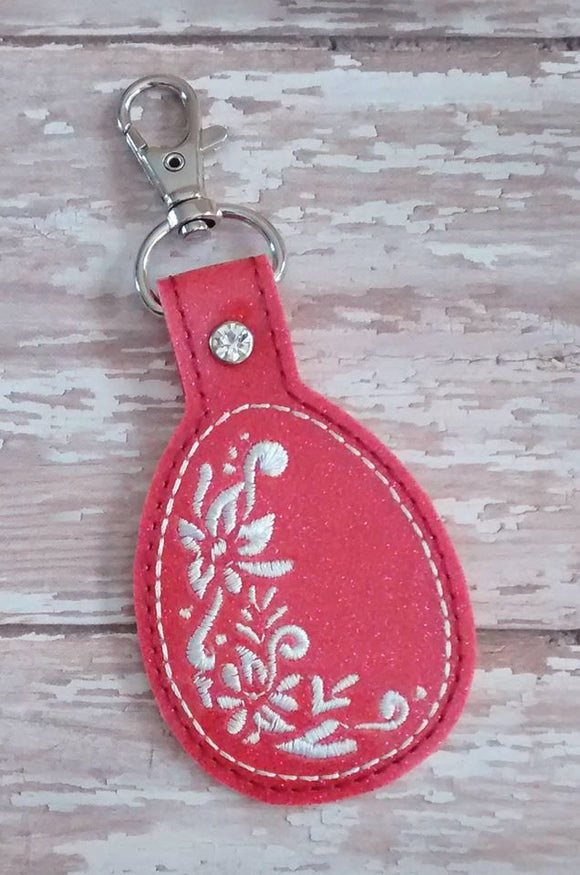 ITH Digital Embroidery Pattern for Floral Egg Design Snap Tab / Key Chain, 4X4 Hoop