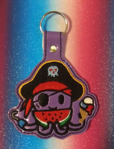 ITH Digital Embroidery Pattern for Toki Octo Snap Tab / Key Chain, 4X4 Hoop