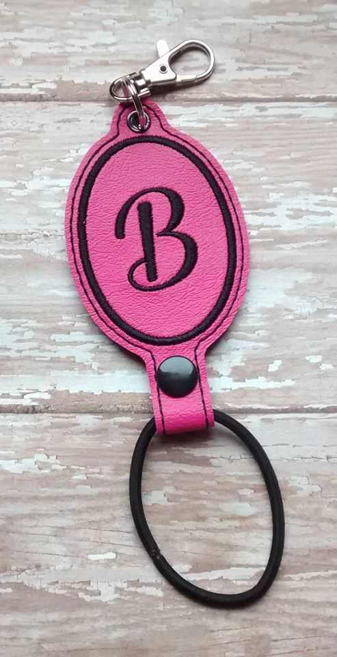 ITH Digital Embroidery Pattern for Hair Tie Holder Blank Oval with Eyelet, 4X4 Hoop