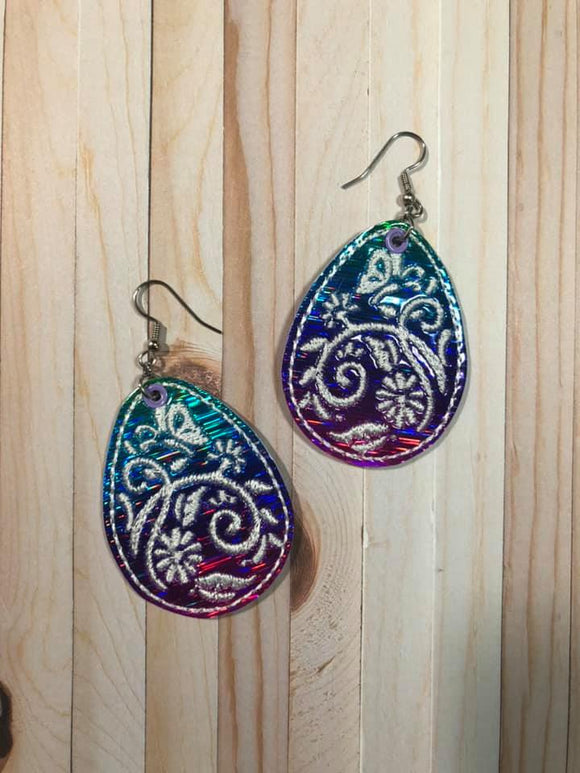 ITH Digital Embroidery Pattern for Butterfly Filigree Egg Earrings, 4x4 Hoop