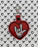 ITH Digital Embroidery Pattern for I Love You Sign with Mouse Gloves Snap Tab / Key Chain, 4X4 Hoop