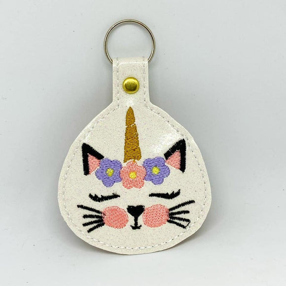 ITH Digital Embroidery Pattern for Kitticorn Face Snap Tab / Key Chain, 4X4 Hoop
