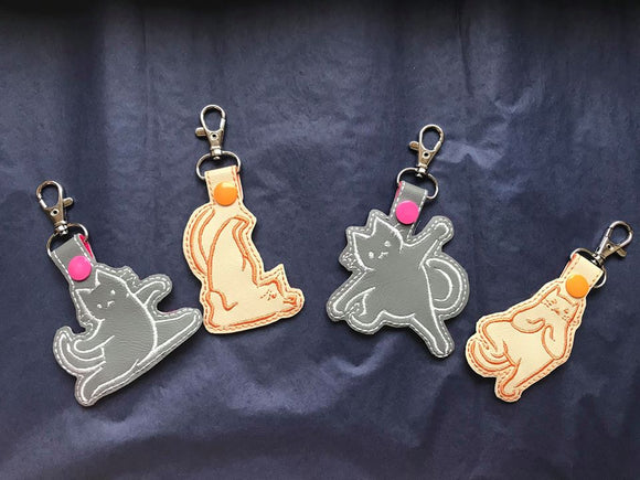 ITH Digital Embroidery Pattern for Set of 4 Kitty Yoga Snap Tabs / Key Chains, 4X4 Hoop
