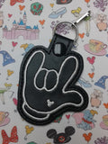 ITH Digital Embroidery Pattern for I Love You Mouse Glove no heart Snap Tab / Key Chain, 4X4 Hoop