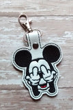 ITH Digital Embroidery Pattern for Mid Finger M Mouse Snap Tab / Key Chain, 4X4 Hoop