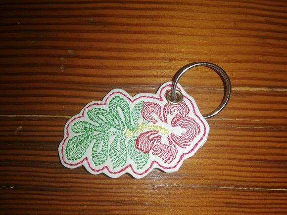 ITH Digital Embroidery Pattern for Hibiscus Zipper Pull, 4X4 Hoop