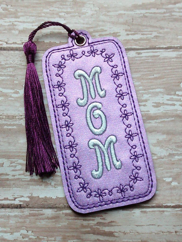ITH Digital Embroidery Pattern for MOM Floral Motif Bookmark, 4X4 Hoop