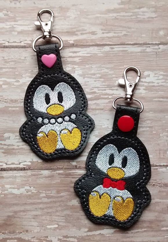 ITH Digital Embroidery Pattern for Set of 2 Penguin Snap Tab / Key Chains, 4X4 Hoop