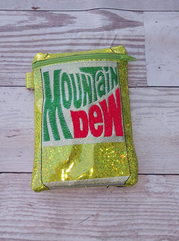 ITH Digital Embroidery Pattern for Retro Mnt Dew Can 5X7 Zipper Bag Unlined, 5X7 Hoop