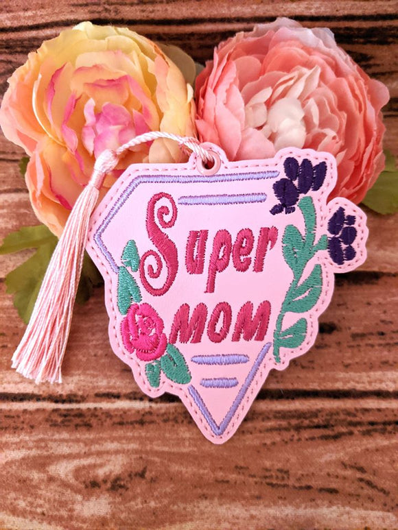 ITH Digital Embroidery Pattern for Super Mom Bookmark / Ornament Design, 4X4 Hoop