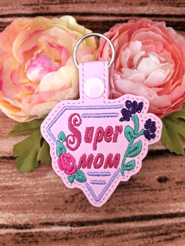 ITH Digital Embroidery Pattern for Super Mom Snap Tab / Key Chain, 4X4 Hoop