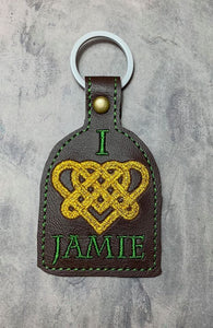 ITH Digital Embroidery Pattern for Outlander I Love Jamie Snap Tab / Key Chain, 4X4 Hoop