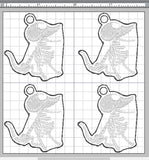 ITH Digital Embroidery Pattern for Corpse Bride Scraps Zipper Pull 4X4 Hoop