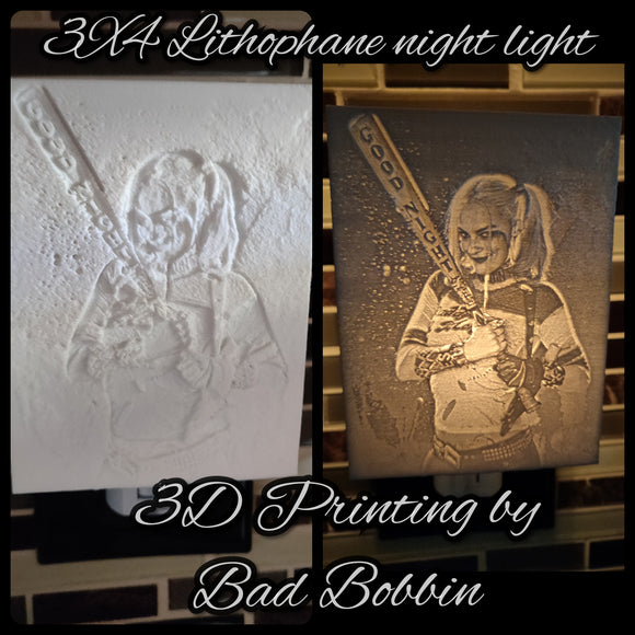 Lithophane Night Light Harley Quin Good Night Bat