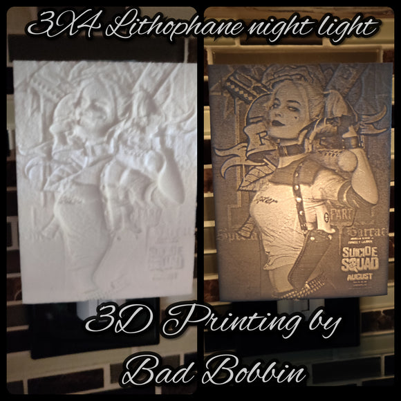 Lithophane Night Light Harley Quin Suicide Sqad