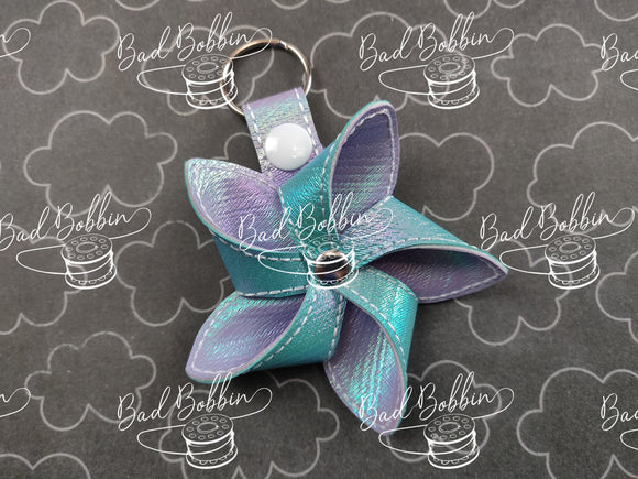 ITH Digital Embroidery Pattern for 3D Pinwheel 5 Point III Snap Tab / Key Chain, 4X4 Hoop