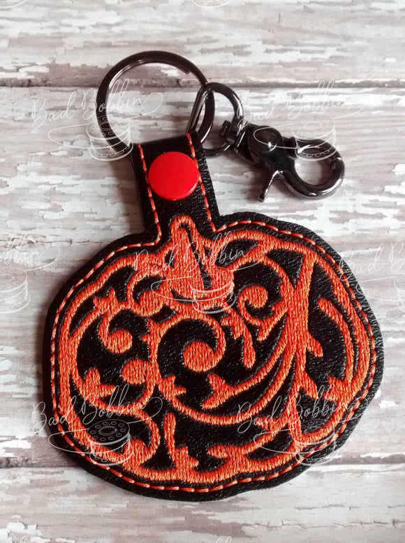 ITH Digital Embroidery Pattern for Filigree Pumpkin Snap Tab / Key Chain, 4X4 Hoop