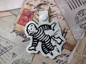 ITH Digital Embroidery Pattern for Monopoly Get Out of Jail Snap Tab / Key Chain, 4X4 Hoop