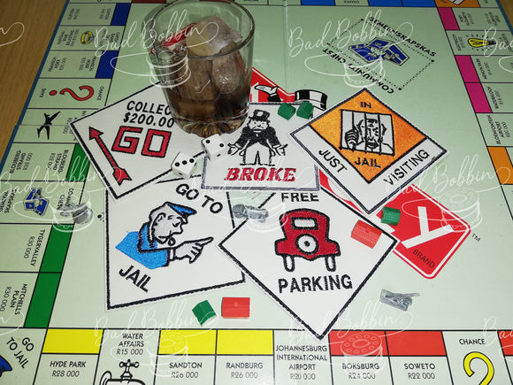 ITH Digital Embroidery Pattern for Set of 5 Monopoly Coasters, 4X4 Hoop