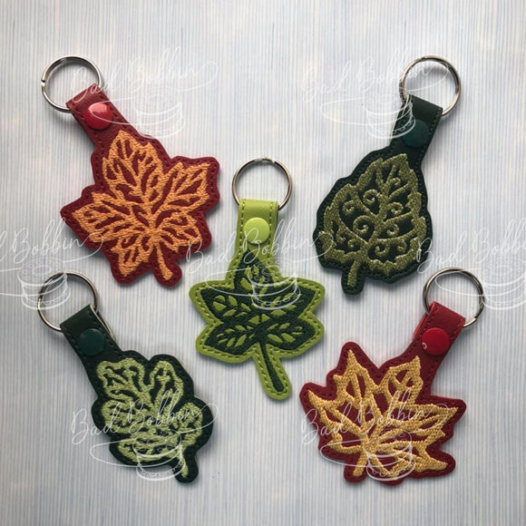ITH Digital Embroidery Pattern for Set of 5 Fall Leaves Snap Tabs / Key Chain, 4X4 Hoop