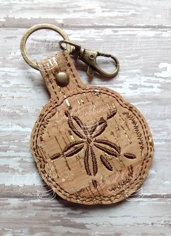 ITH Digital Embroidery Pattern for Sand Dollar Snap Tab / Key Chain, 4X4 Hoop