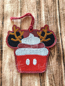 ITH Digital Embroidery Pattern for Mic Deer Christmas Cupcake Ornament, 4X4 Hoop