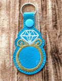 ITH Digital Embroidery Pattern for Diamond Ring Snap Tab / Key Chain, 4X4 Hoop