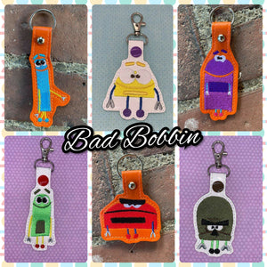 ITH Digital Embroidery Pattern for Set of 6 SB Character's Snap Tabs / Key Chains, 4X4 Hoop
