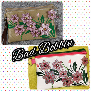 ITH Digital Embroidery Pattern for 3D Dbl 6 Point Flower Lined 5X7 Zipper Pouch, 5X7 Hoop