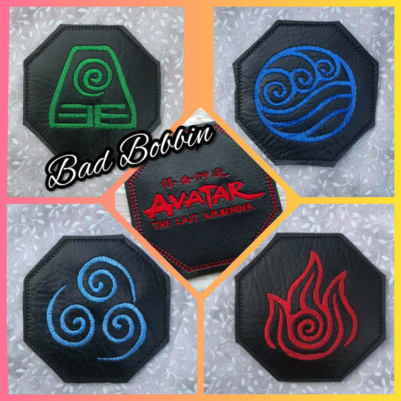 ITH Digital Embroidery Pattern for Avatar TLA Coaster Set of 5 Bundle Pack, 4X4 Hoop