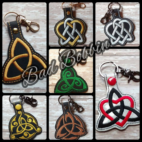 ITH Digital Embroidery Pattern for Triquetra Set of 7 Snap Tab / Key Chain, 4X4 Hoop