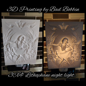 Lithophane Night Light Snow White with 7
