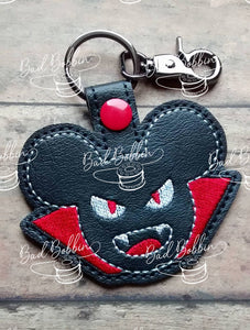 ITH Digital Embroidery Pattern for Dracula Mr Mouse Snap Tab / Key Chain, 4X4 Hoop