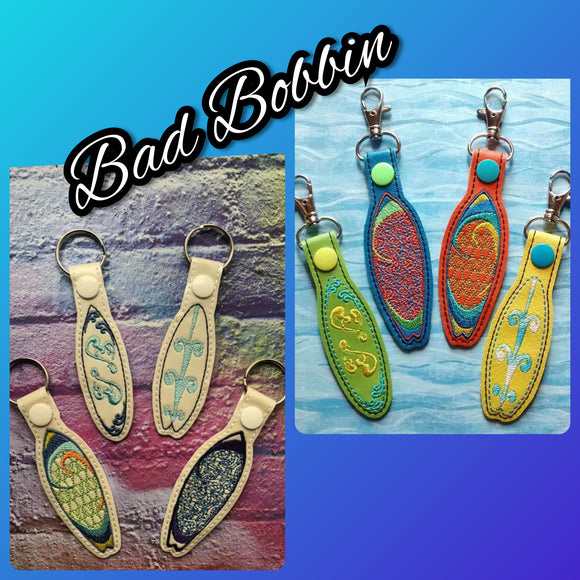 ITH Digital Embroidery Pattern for Surf Board Set of 4 Snap Tabs / Key Chains, 4X4 Hoop