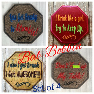 ITH Digital Embroidery Pattern For Set of 4 Snarky Drinking Coasters, 4X4 Hoop