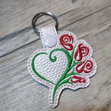 ITH Digital Embroidery Pattern for Heart With Roses Key Chain / Snap Tab