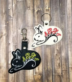 ITH Digital Embroidery Pattern for Bunny With Roses Snap Tab/Key Chain for 4X4 hoop