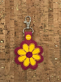 ITH Digital Embroidery Pattern for 3D Daisy Flower Snap Tab / Key Chain, 4x4 hoop