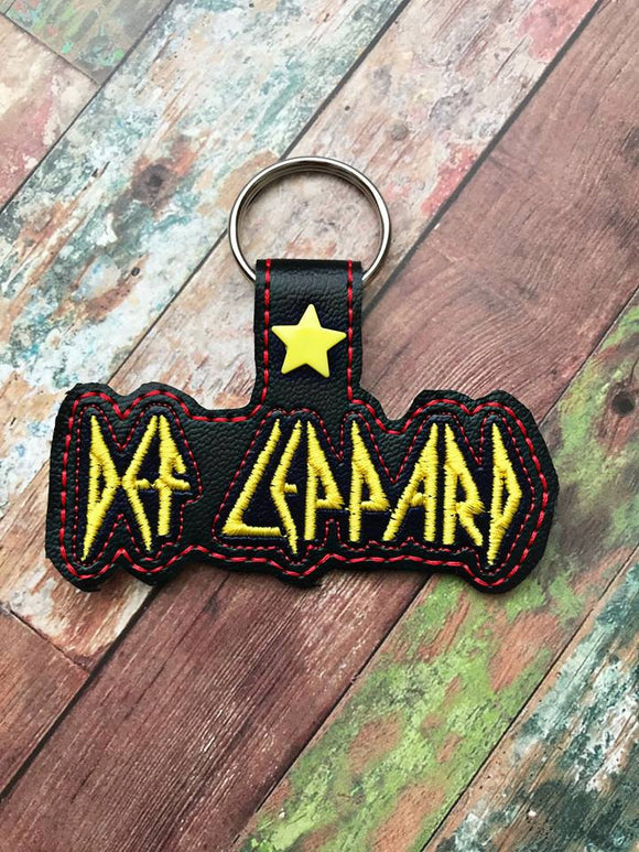 ITH Digital Embroidery Pattern for Def Leppard Band Snap Tab / Key Chain, 4x4 hoop