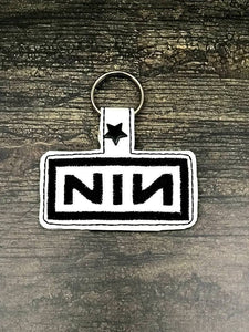 ITH Digital Embroidery Pattern for NIN Band Snap Tab / Key Chain, 4x4 hoop