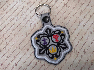ITH Digital Embroidery Pattern for KH Emblem Snap Tab / Key Chain, 4x4 hoop