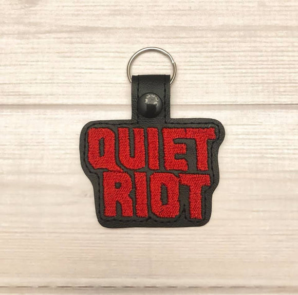 ITH Digital Embroidery Pattern for Quiet Riot Snap Tab / Key Chain, 4x4 hoop