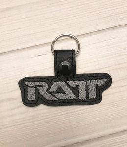 ITH Digital Embroidery Pattern for RATT Band Snap Tab / Key Chain, 4x4 hoop