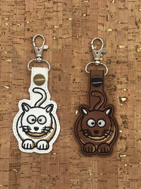 ITH Digital Embroidery Pattern for lil Fat Cat Snap Tab / Key Chain, 4x4 hoop