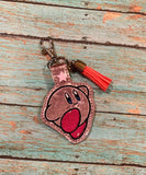 ITH Digital Embroidery Pattern for Kirby Character Snap Tab / Key Chain, 4x4 hoop