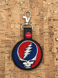 ITH Digital Embroidery Pattern for Grateful Dead Band Snap Tab / Key Chain, 4x4 hoop