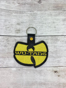 ITH Digital Embroidery Pattern for Wu- Tang Snap Tab / Key Chain, 4x4 hoop