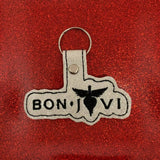 ITH Digital Embroidery Pattern for Bon Jovi Band Snap Tab / Key Chain, 4x4 Hoop